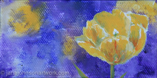 """Yellow Tulip on Purple"" original fine art by Jana Johnson"