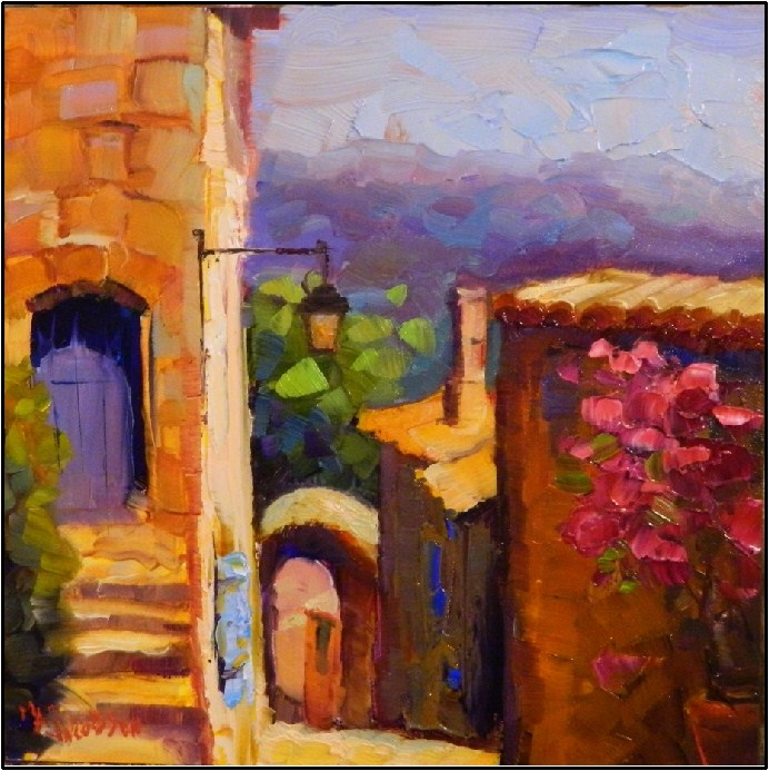 """Predictably French, 8x8, oil on panel, small paintings of France, Provence, Lacoste"" original fine art by Maryanne Jacobsen"