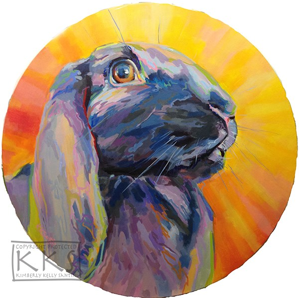"""Apollo, the Sun God of Rabbits"" original fine art by Kimberly Santini"