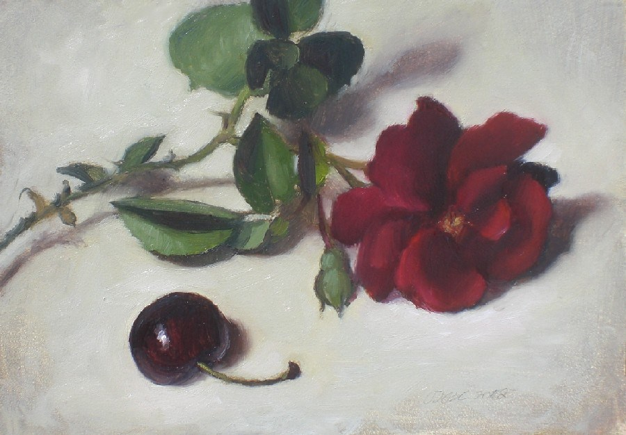 """Rose and Cherry"" original fine art by Debra Becks Cooper"