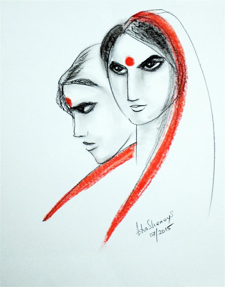 """Indian Women"" original fine art by Asha Shenoy S"