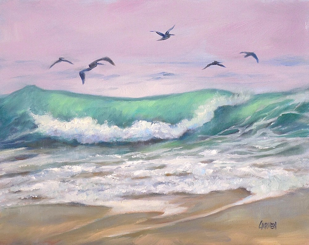 """Pelicans in Flight, 8x10 Oil on Canvas Panel, Seascape with Birds"" original fine art by Carmen Beecher"