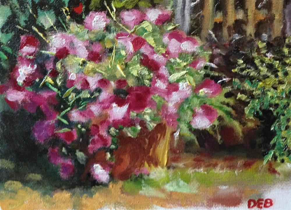 """Red Flowers in a Pot"" original fine art by Debbie Yacenda"