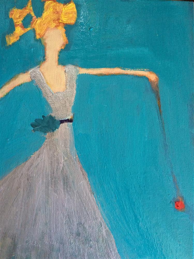 """""""Silver yo yo girl"""" original fine art by pamela kish"""