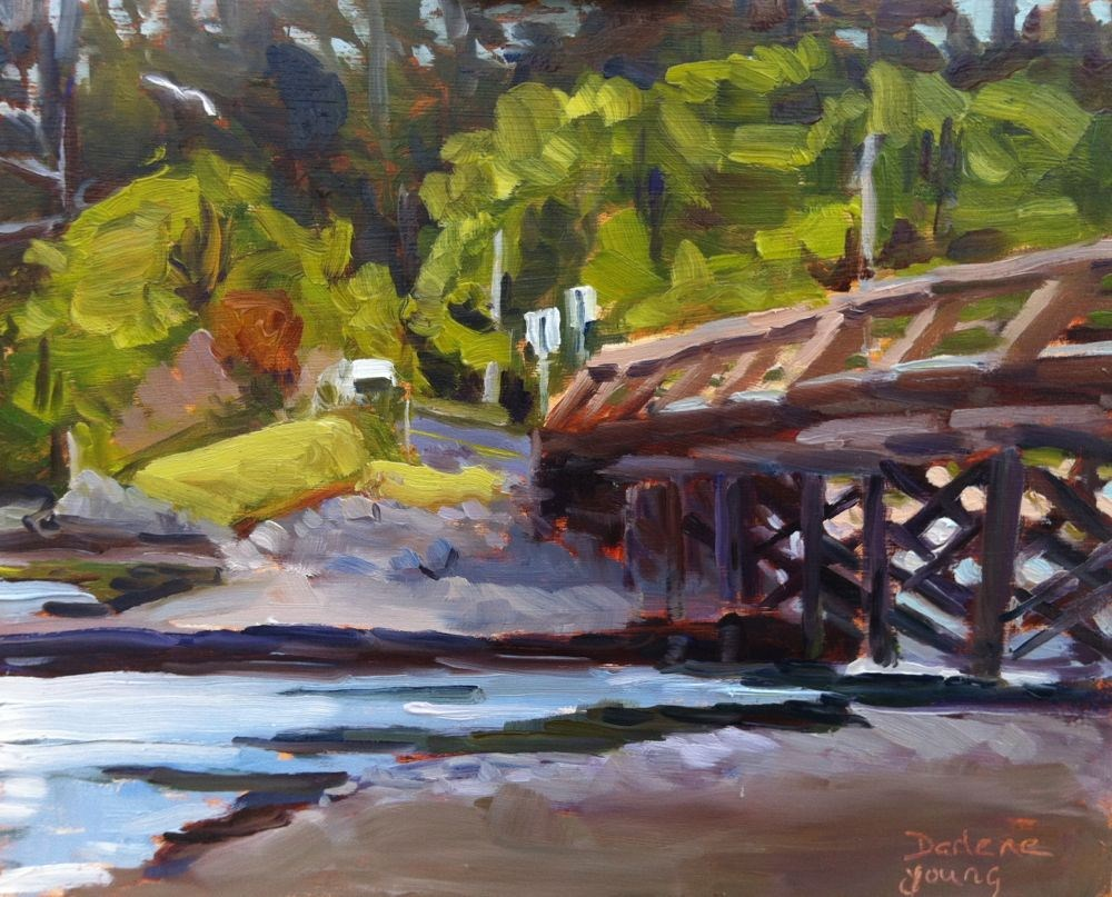 The Bridge, oil on board, 8x8 original fine art by Darlene Young