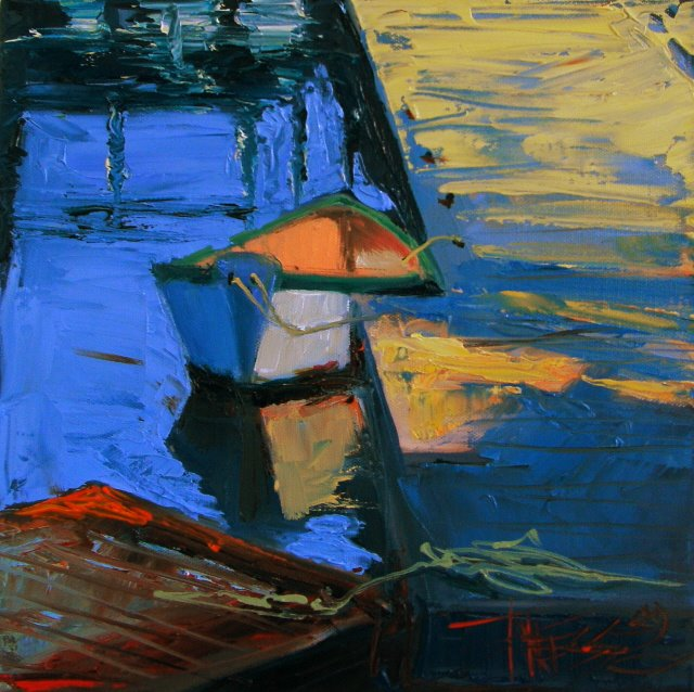 """A Little Dingy  oil marine painting"" original fine art by Robin Weiss"