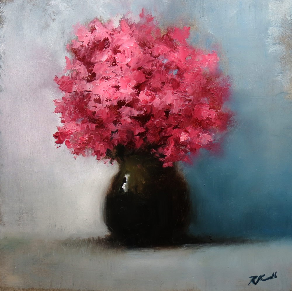 """""""Red Flowers in a Vase"""" original fine art by Bob Kimball"""