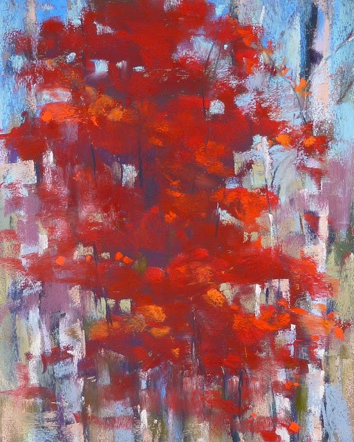 """Painting the colors of Autumn...RED"" original fine art by Karen Margulis"