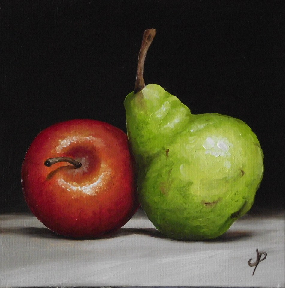 """Apple and Pear"" original fine art by Jane Palmer"