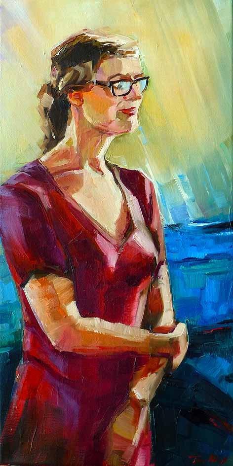 """""""Die Frau in Rot"""" original fine art by Jurij Frey"""