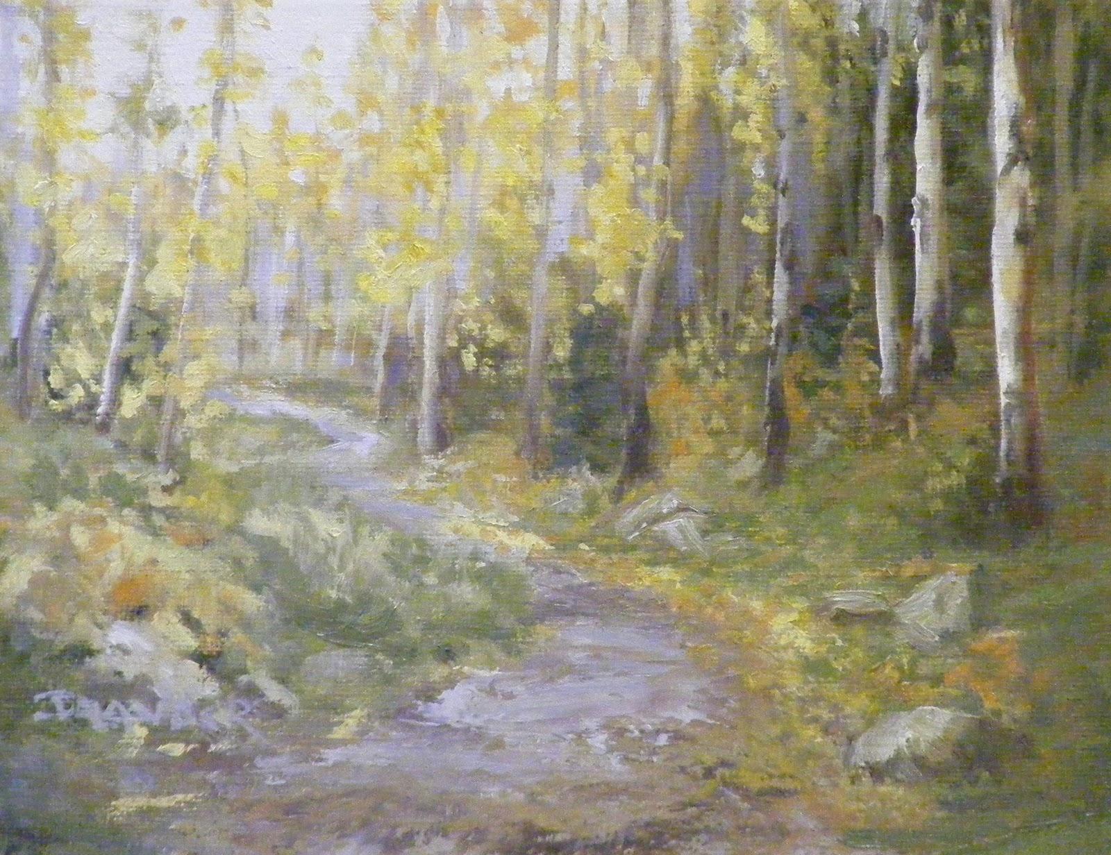 Aspen Walk, Landscape original fine art by Diana Delander