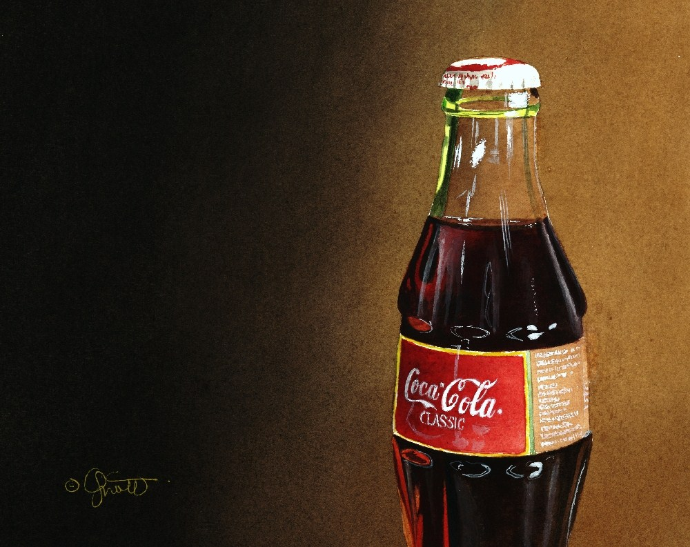 """Coke with Gradation"" original fine art by Jacqueline Gnott, whs"