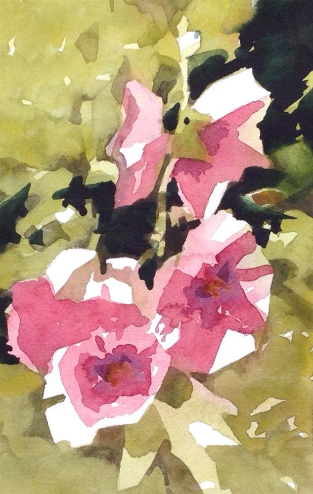 """Hollyhocks"" original fine art by Julie Crouch"