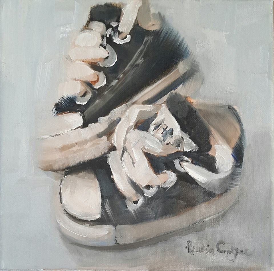 """First tekkies"" original fine art by Rentia Coetzee"