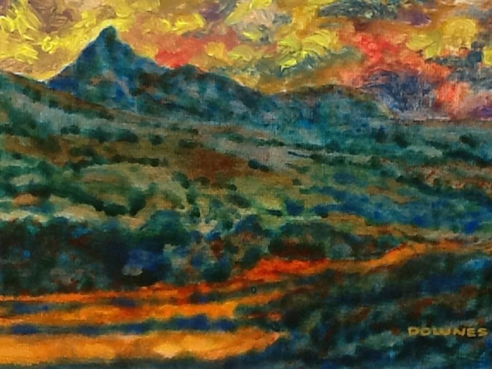 """081 MOUNT WARNING 14"" original fine art by Trevor Downes"