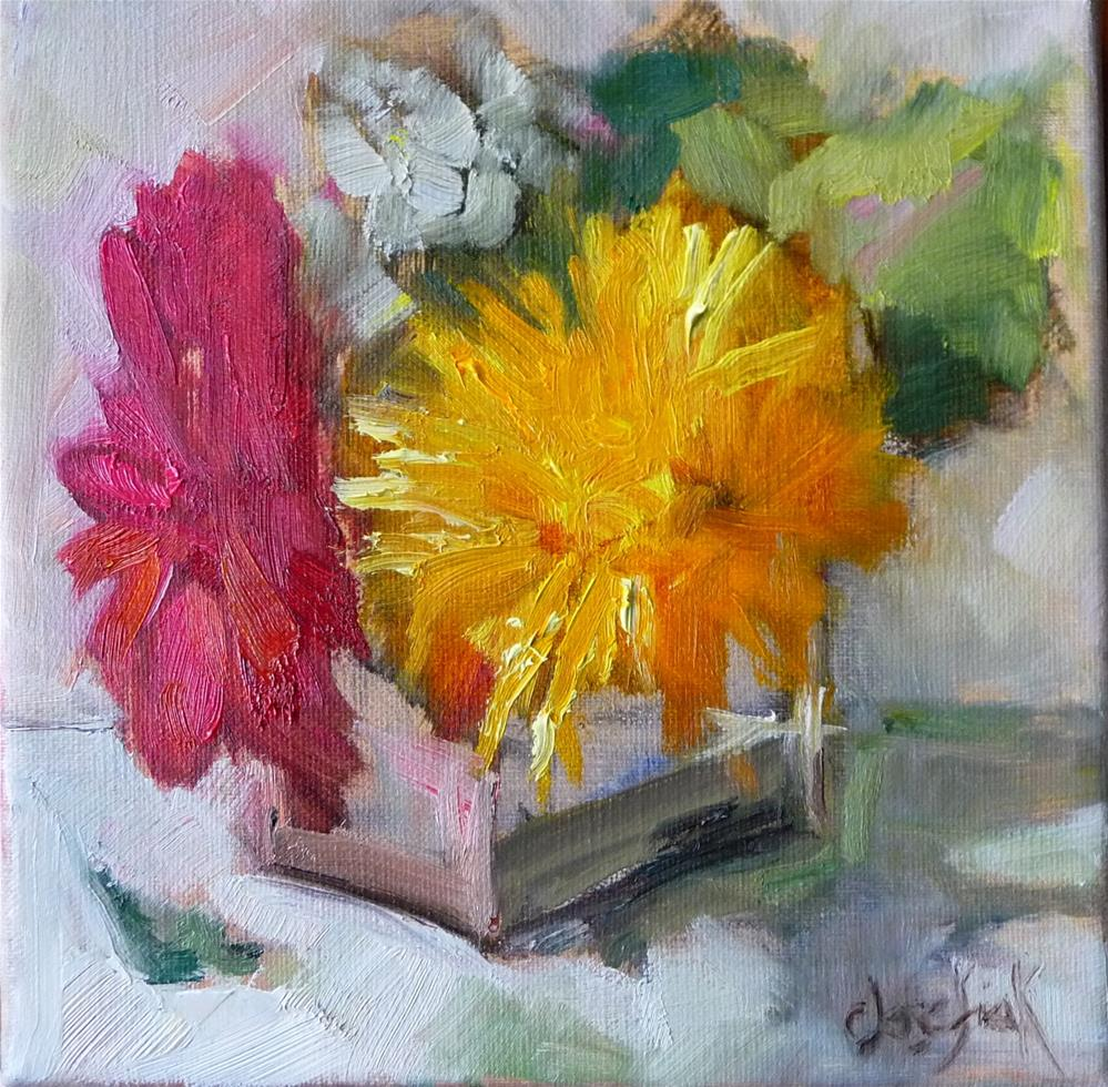 """Mums and Gerbers"" original fine art by Carol Josefiak"