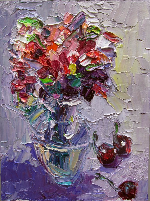 """""""Sweet Peas and Cherries"""" original fine art by Carol Steinberg"""
