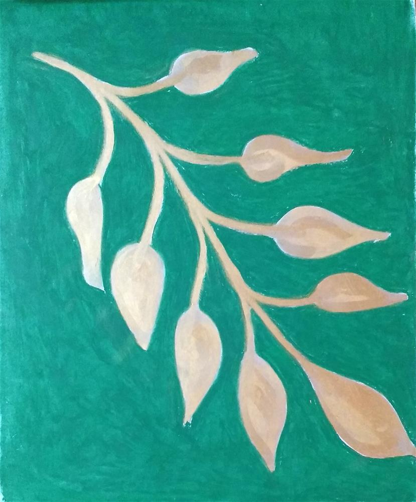 """Silver Leaf in Green"" original fine art by Adéla Svobodová"