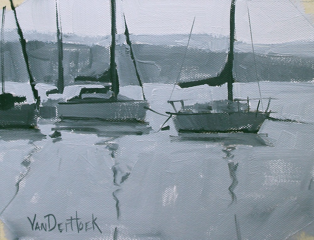 """Value Study of Boats"" original fine art by Kim VanDerHoek"