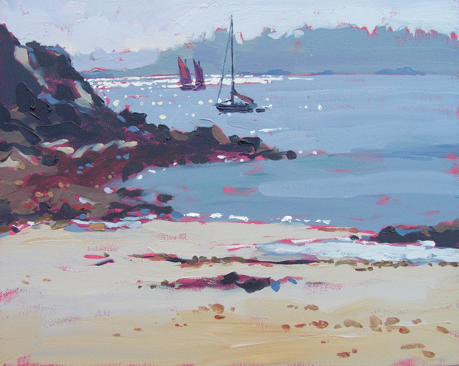 """Late afternoon at Guerzido beach"" original fine art by Haidee-Jo Summers ROI"