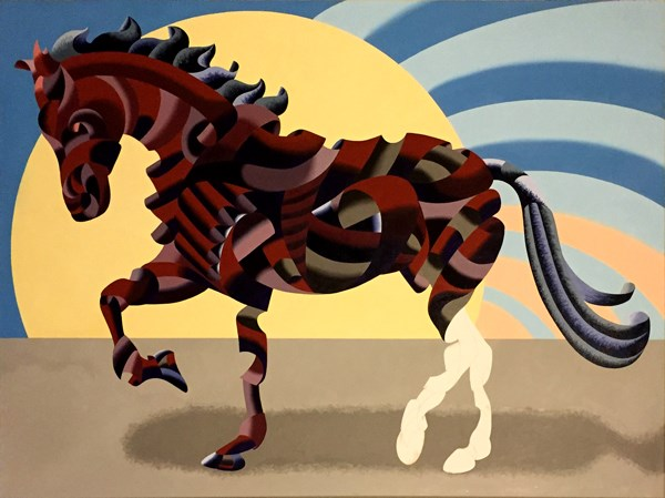 """""""Mark Webster - New Progress on Abstract Geometric Futurist Horse Oil Painting"""" original fine art by Mark Webster"""
