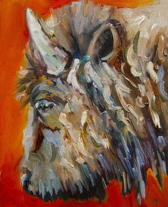 """ARTOUTWEST BISON WILDLIFE ART OIL PAINTING Diane Whitehead Fine art"" original fine art by Diane Whitehead"