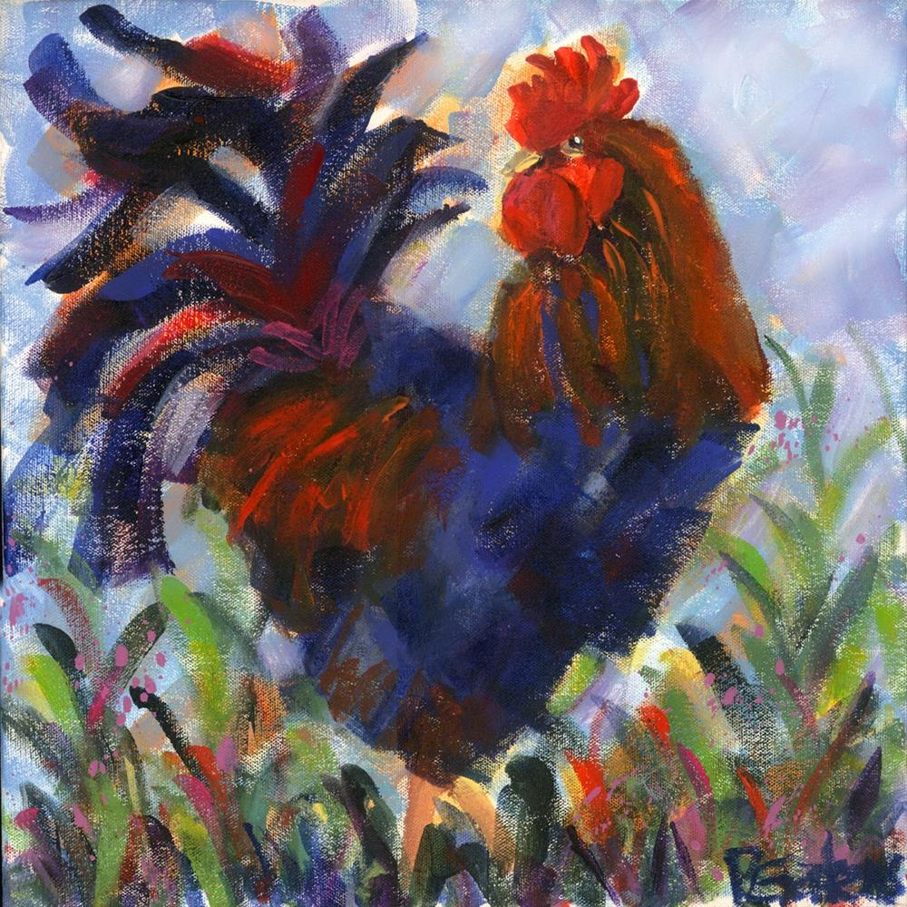 """Colorful Cockerel"" original fine art by Pamela Gatens"