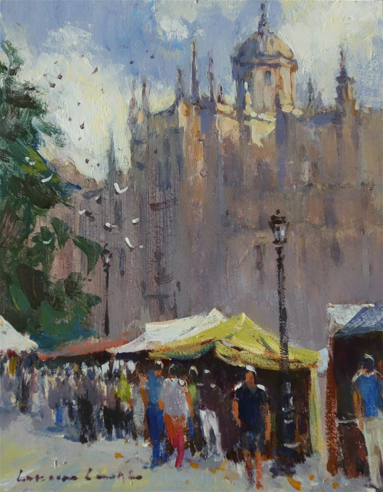 """Medieval Fair, Salamanca Cathedral"" original fine art by Lorraine Lewitzka"