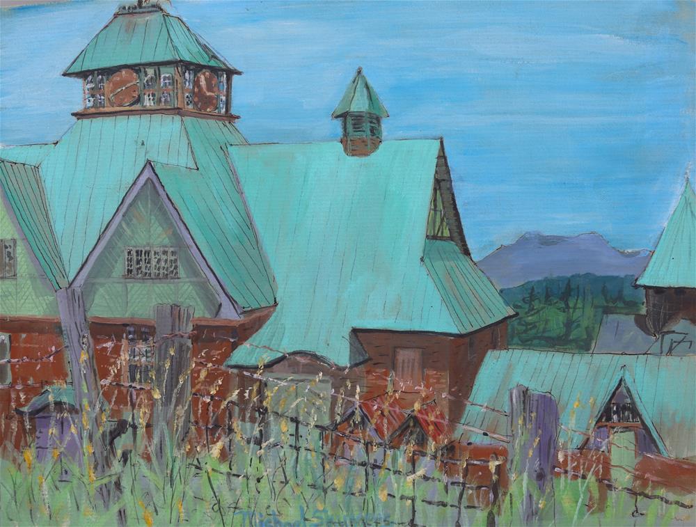 """Barn Yard Fence"" original fine art by Michael Saunders"