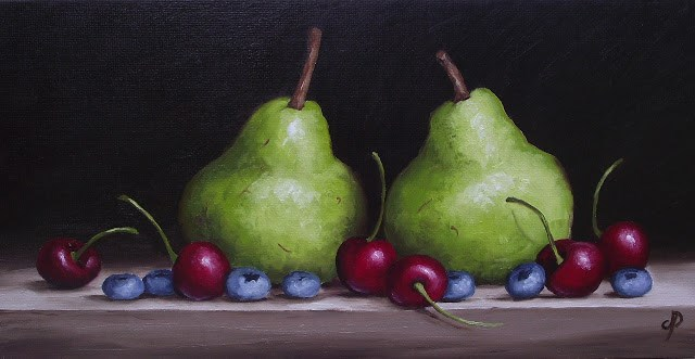 """Pears with Cherries and Blueberries"" original fine art by Jane Palmer"