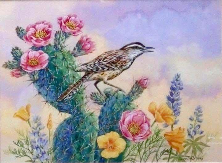 """""""Cactus Wren, framed"""" original fine art by Jean Pierre DeBernay"""