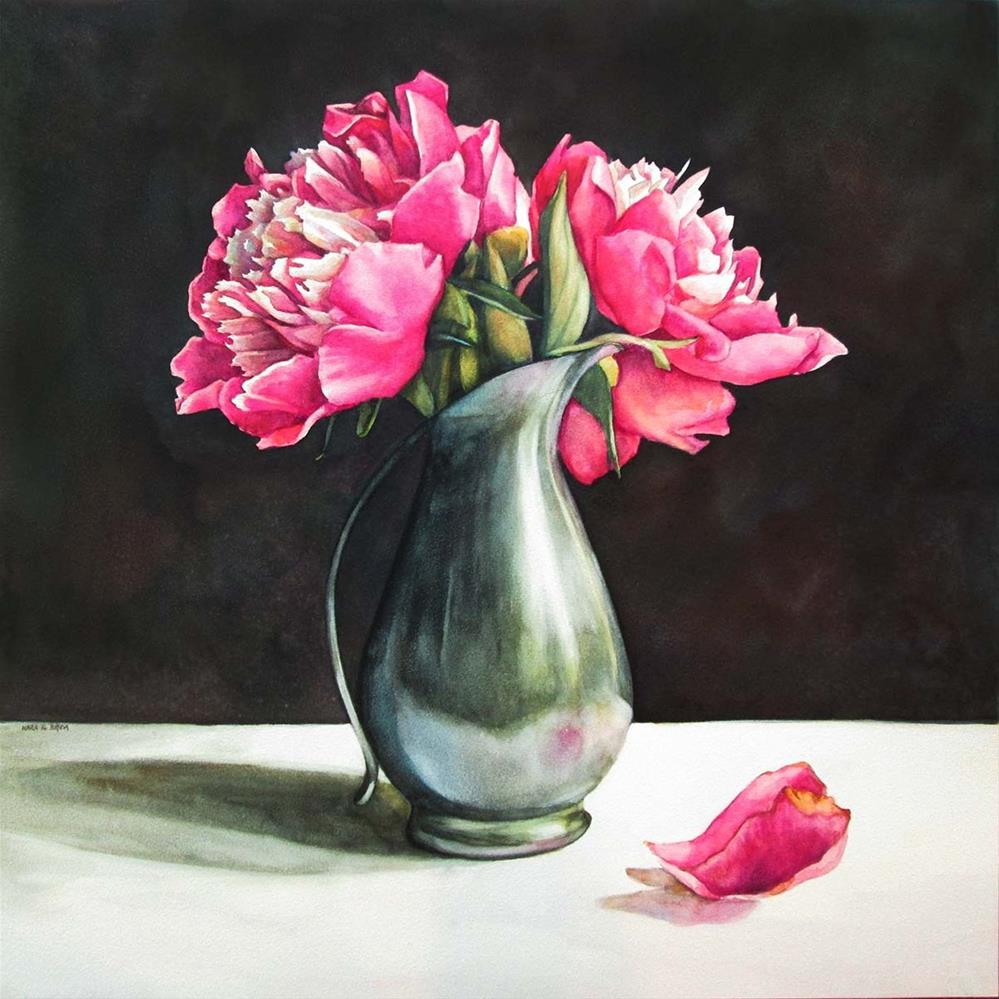 """Peonies in Pewter"" original fine art by Kara K. Bigda"