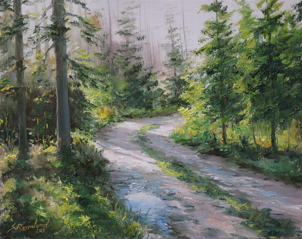 """Through the woods"" original fine art by Stig Rosenlund"