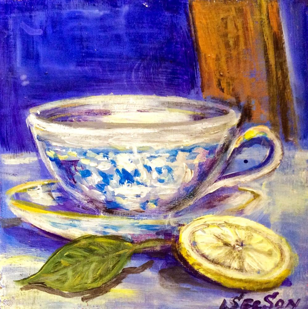 """Tea cup white and blue with lemon"" original fine art by Sonia von Walter"