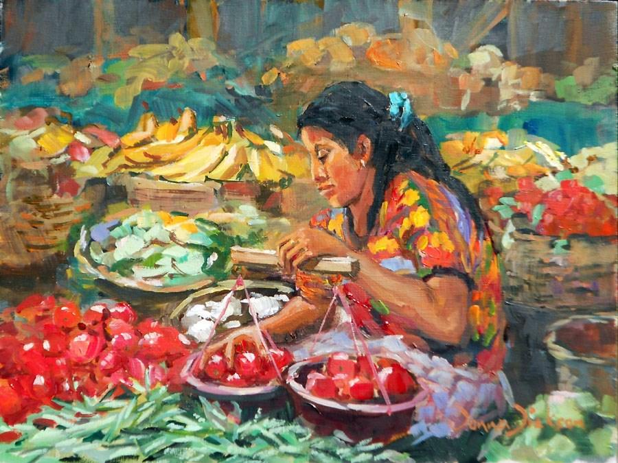 """""""VERDURAS FOR SALE"""" original fine art by Donna Dickson"""