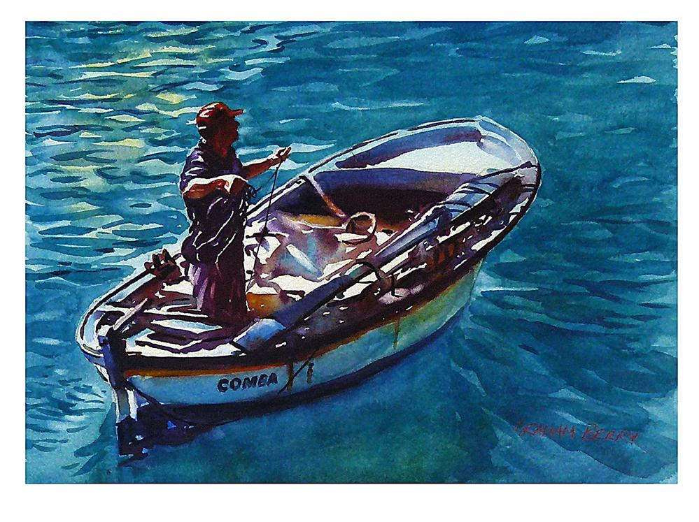 """Man and boat."" original fine art by Graham Berry"