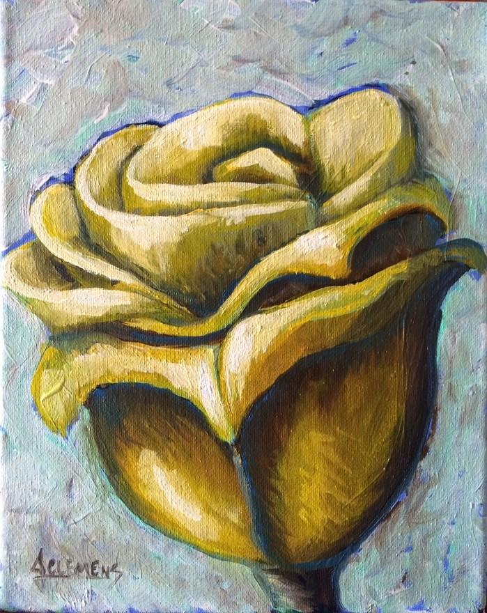 """Yellow Rose"" original fine art by Jolynn Clemens"