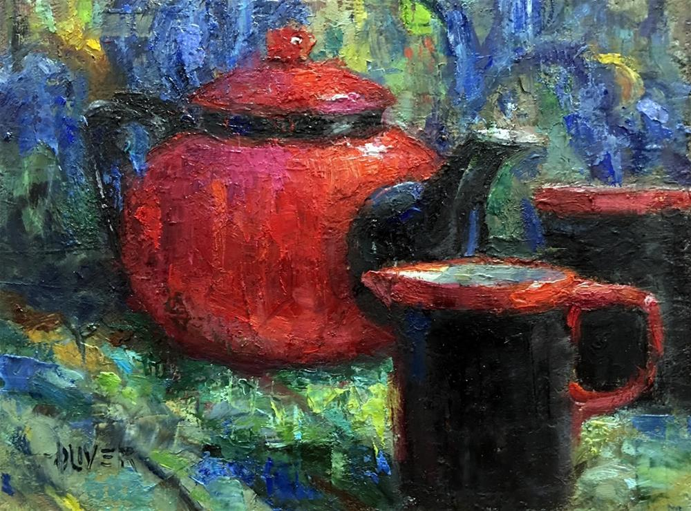 """Red Teapot and Van Gogh"" original fine art by Julie Ford Oliver"