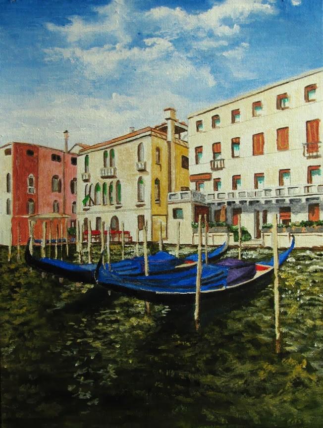 """2 Gondolas"" original fine art by Nan Johnson"