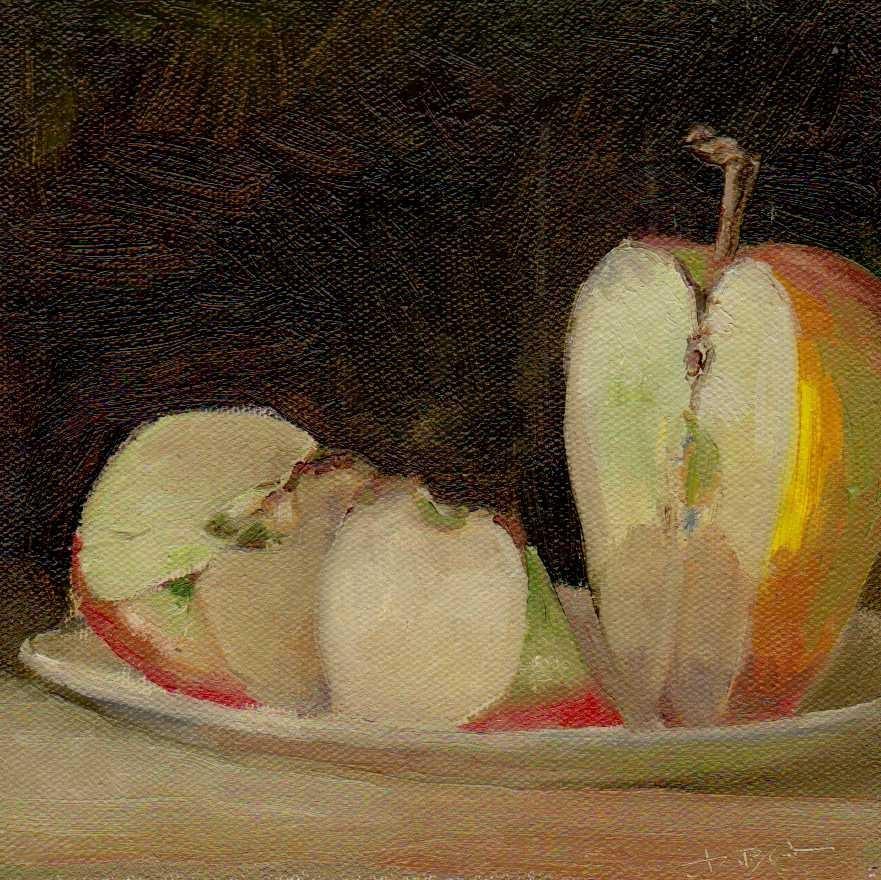"""apple"" original fine art by V. DeBak"