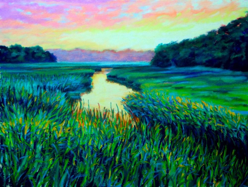"""Twilight Marsh"" original fine art by Jill Bates"