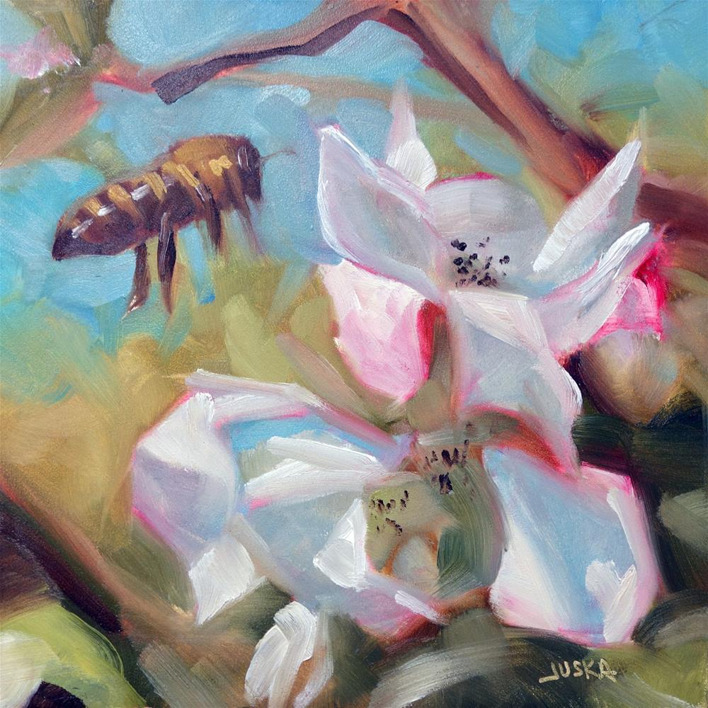 """Bee and Blossoms"" original fine art by Elaine Juska Joseph"