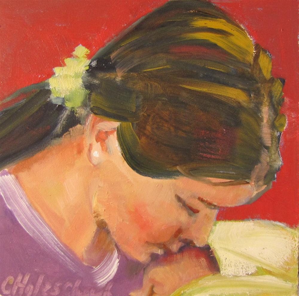"""Sarah  4x4 oil sold"" original fine art by Christine Holzschuh"