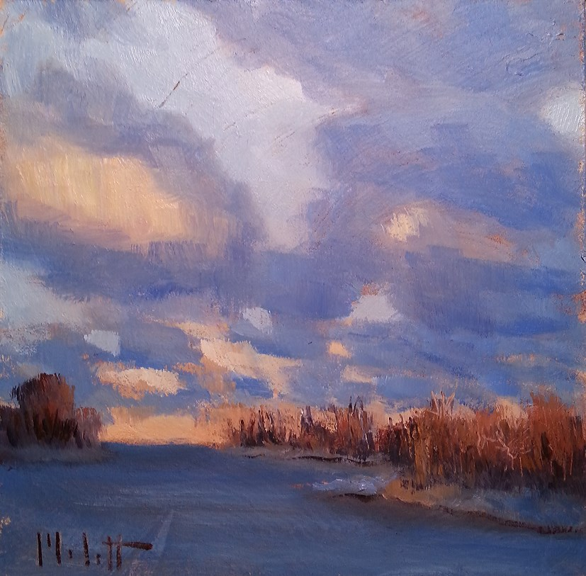 """Winter Sunset on the Lake Original Oil Painting"" original fine art by Heidi Malott"