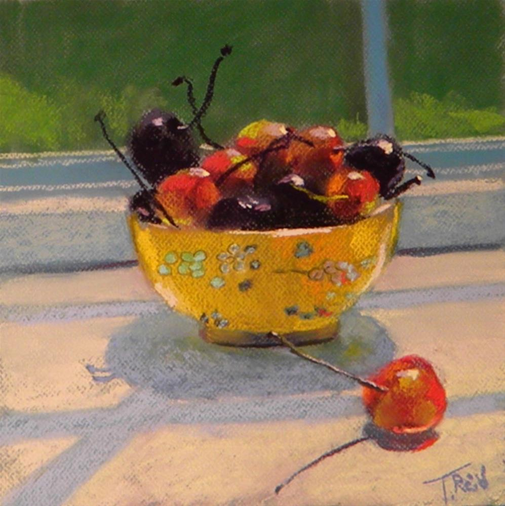 """Cherries and yellow bowl"" original fine art by Toby Reid"