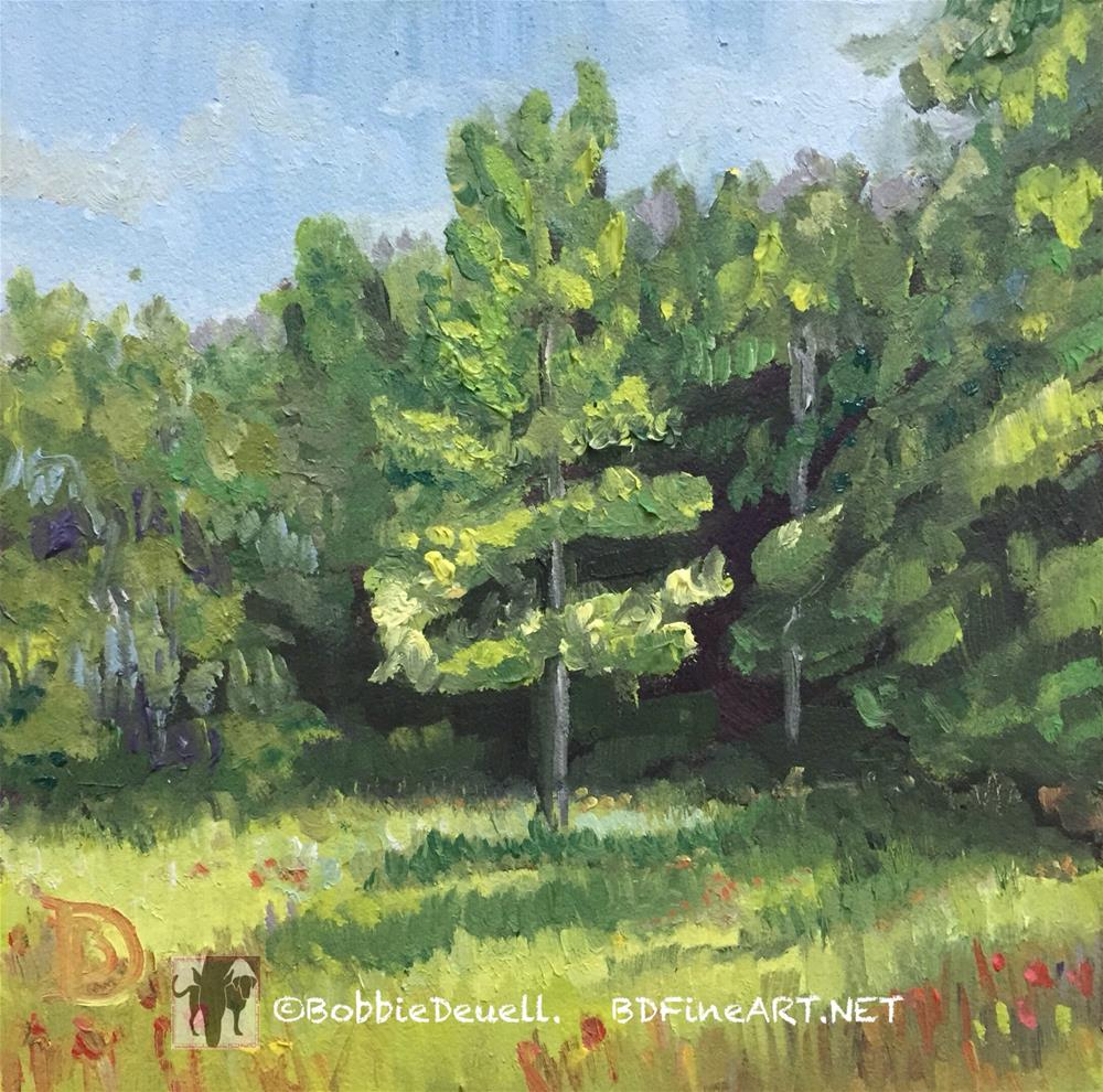 """#9 intrigued by the Tree in the Light"" original fine art by Bobbie Deuell"