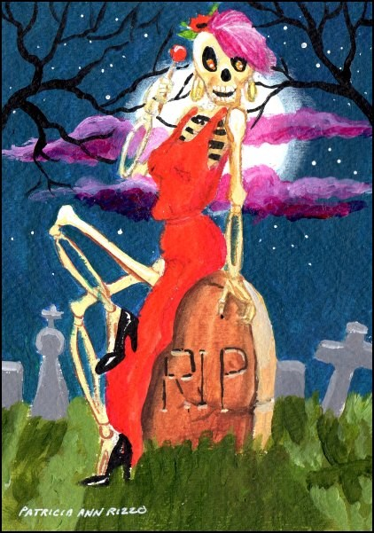 """Queen of the Halloween Ball"" original fine art by Patricia Ann Rizzo"