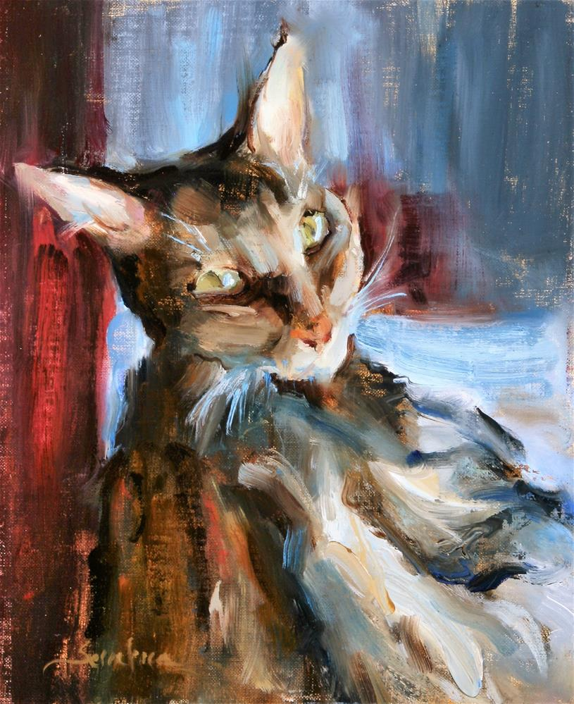 """Cat by the Window"" original fine art by Scott Serafica"