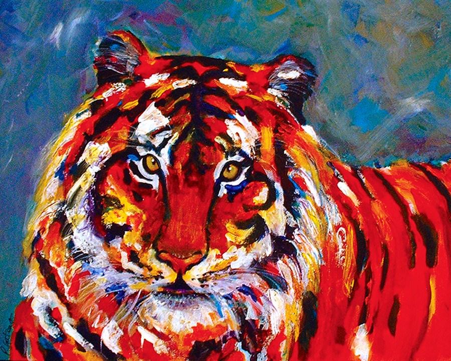 Confetti Cat original fine art by Pamela Gatens
