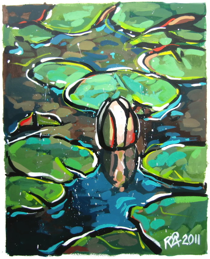 """Partially Abstract Water Lilies 22"" original fine art by Roger Akesson"
